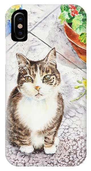 Watercolor Pet Portraits iPhone Case - Here Kitty Kitty Kitty by Irina Sztukowski