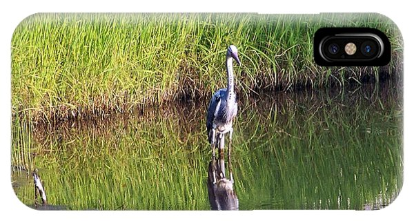 Wildlife Er iPhone Case - Heron In The Pond  by Kate Scott