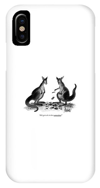 Kangaroo iPhone Case - He's Got To Be In Here Somewhere! by Kenneth Mahood
