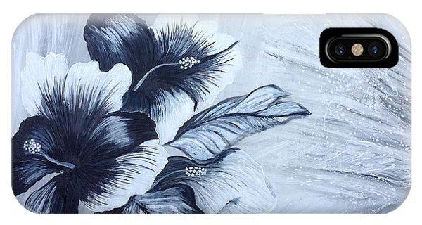 Hibiscus  Black And White IPhone Case