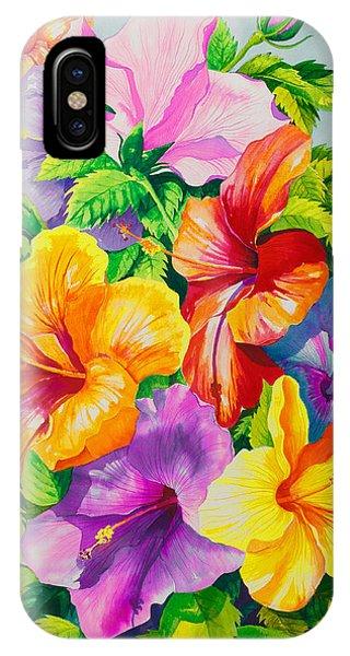 Hibiscus Flower iPhone Case - Hibiscus Rainbow Array by Janis Grau