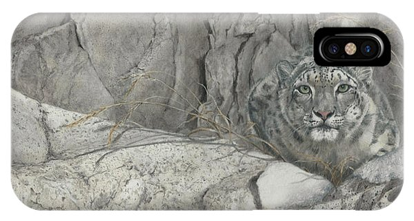 Snow Leopard iPhone Case - Hiding In The Himalayas by Dreyer Wildlife Print Collections