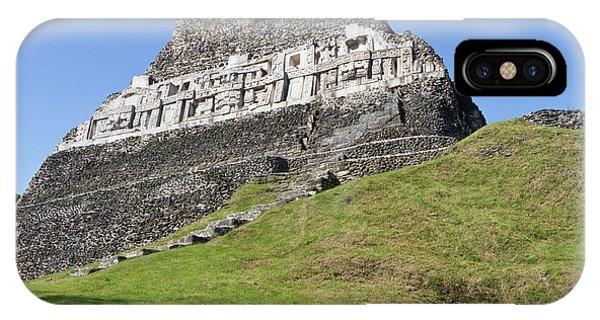 Belize iPhone Case - Hieroglyphs On A Wall Facade Of El by William Sutton