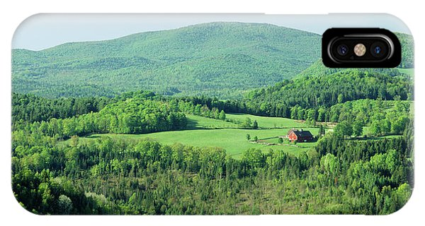 New England Barn iPhone Case - High Angle View Of A Barn In A Field by Panoramic Images