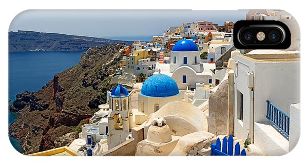 Greece iPhone Case - High Angle View Of A Church, Oia by Panoramic Images