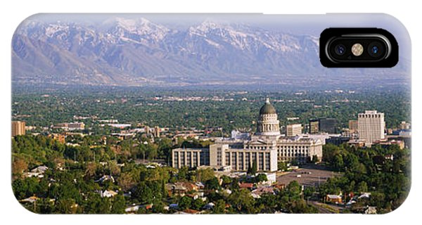 Capitol Building iPhone Case - High Angle View Of A City, Salt Lake by Panoramic Images