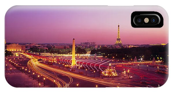 Concorde iPhone Case - High Angle View Of Paris At Dusk by Panoramic Images