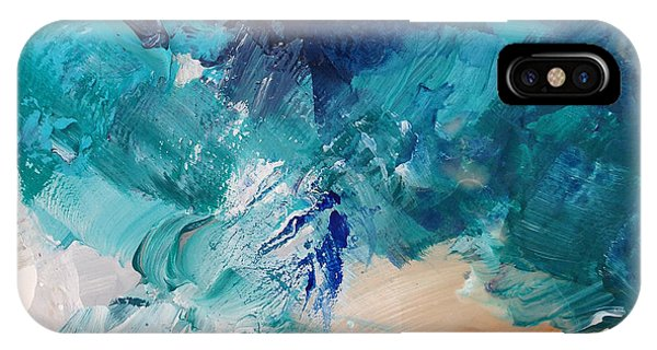 Blue And White iPhone Case - High As A Mountain- Contemporary Abstract Painting by Linda Woods