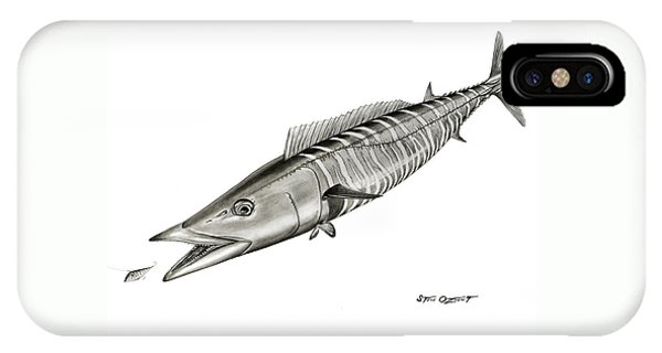 IPhone Case featuring the drawing High Speed Wahoo by Steve Ozment