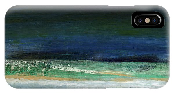 Grey Skies iPhone Case - High Tide- Abstract Beachscape Painting by Linda Woods