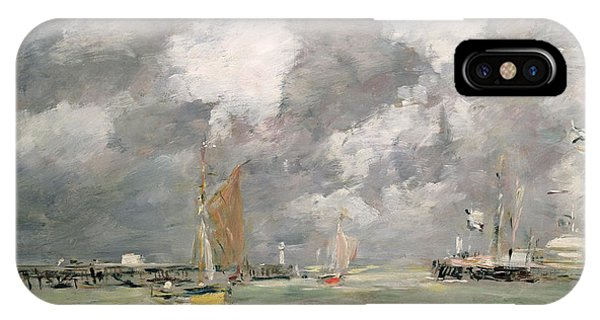 Docked Boats iPhone Case - High Tide At Trouville by Eugene Louis Boudin