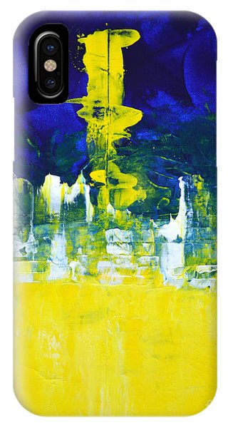 Higher Mind Blue Lemon Yellow Abstract By Chakramoon Phone Case by Belinda Capol