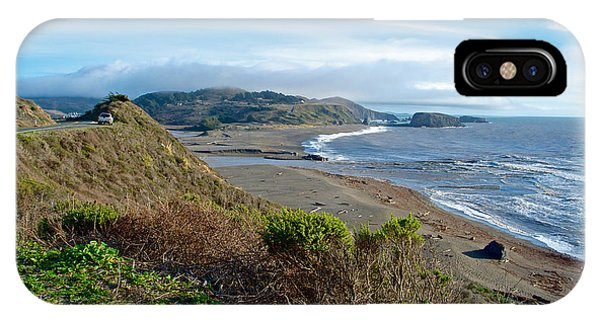 Highway 1 Near Outlet Of Russian River Into Pacific Ocean Near Jenner-ca  IPhone Case