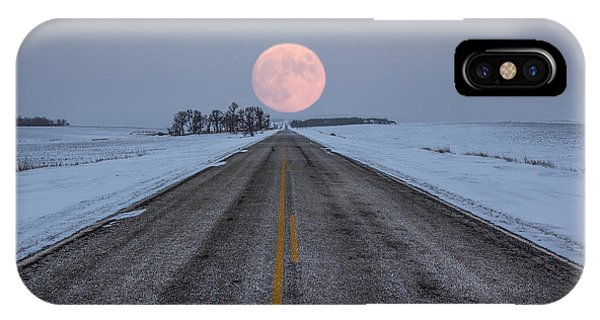 Full Moon iPhone Case - Highway To The Moon by Aaron J Groen