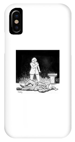 Hillary Clinton iPhone Case - Hillary Clinton Knocks Out Donald Trump by Benjamin Schwartz