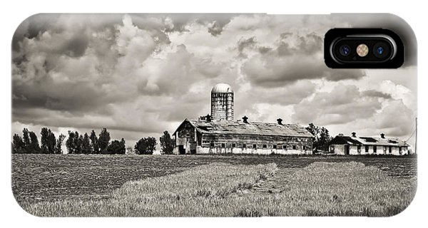 Hilltop Barn Under Storm Clouds 2 Bw IPhone Case