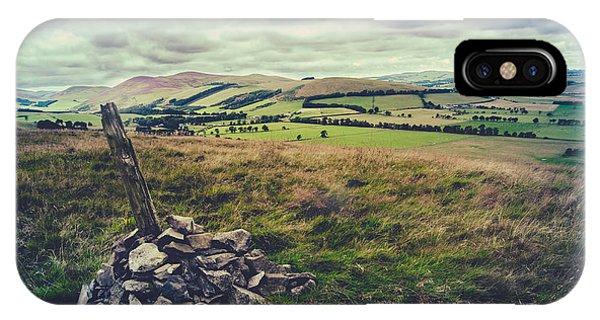 Upland iPhone Case - Hilltop Cairn Scotland Landscape by Mr Doomits