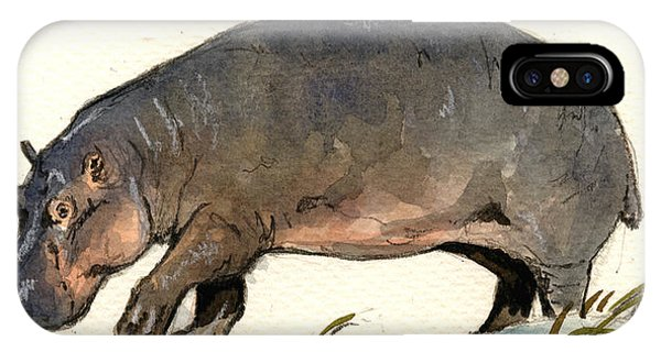 Safari iPhone Case - Hippo Walk by Juan  Bosco