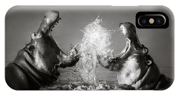 Nature iPhone Case - Hippo's Fighting by Johan Swanepoel