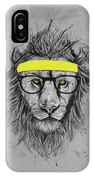 Glass iPhone Case - Hipster Lion by Balazs Solti
