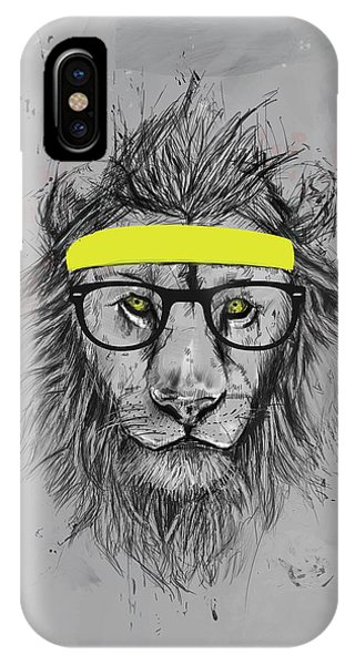 Lion iPhone Case - Hipster Lion by Balazs Solti