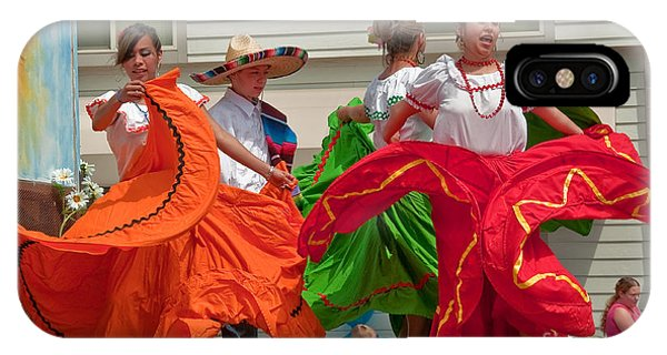Hispanic Women Dancing In Colorful Skirts Art Prints IPhone Case