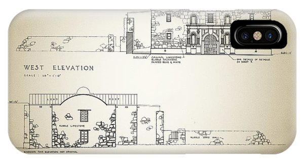 The Alamo iPhone Case - Historic Building Survey - The Alamo by Bill Cannon