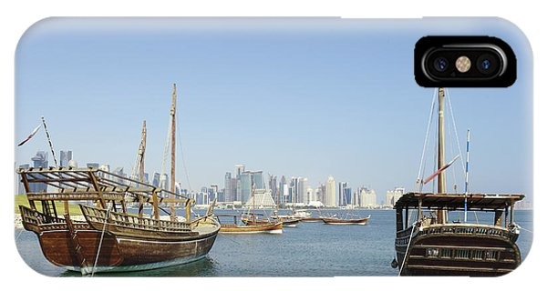 Historic Dhows And Doha Skyline IPhone Case