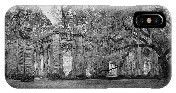 Historic Sheldon Church 6 Bw IPhone Case