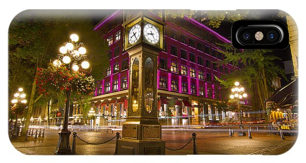 Historic Steam Clock In Gastown Vancouver Bc IPhone Case