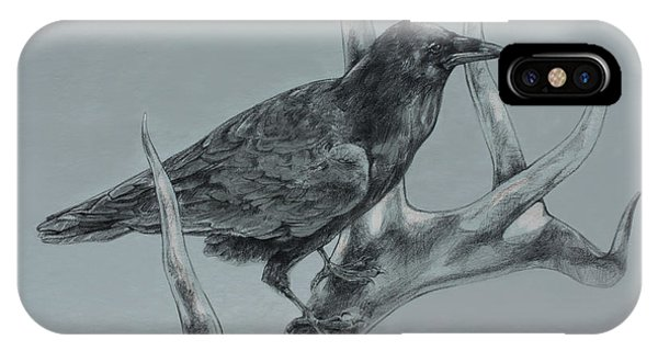 Raven iPhone Case - Hitchhiker Drawing by Derrick Higgins