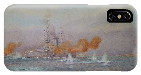 Wwi iPhone Case - H.m.s. Albion Commanded By Capt. A. Walker-heneage Completing The Destruction Of The Outer Forts by Alma Claude Burlton Cull