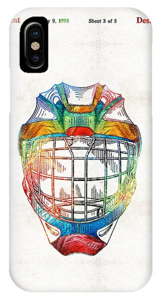 Hockey Art - Goalie Mask Patent - Sharon Cummings IPhone Case