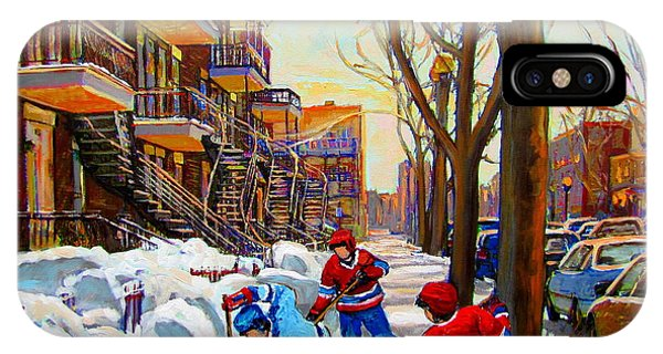 Hockey Art - Paintings Of Verdun- Montreal Street Scenes In Winter IPhone Case