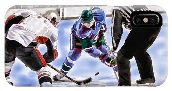 Hockey Players And Referee In Bold Watercolor IPhone Case