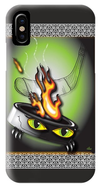 Hockey Puck In Flames IPhone Case