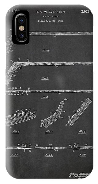 Patent Drawing iPhone Case - Hockey Stick Patent Drawing From 1934 by Aged Pixel