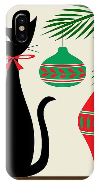 Christmas iPhone Case - Holiday Cat On Cream by Donna Mibus