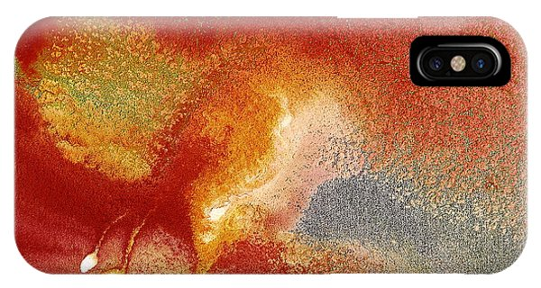 Holiday - Red Silver Gold Abstract Art By Kredart IPhone Case