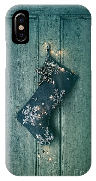 Holiday Stocking With Lights Hanging On Old Door IPhone Case