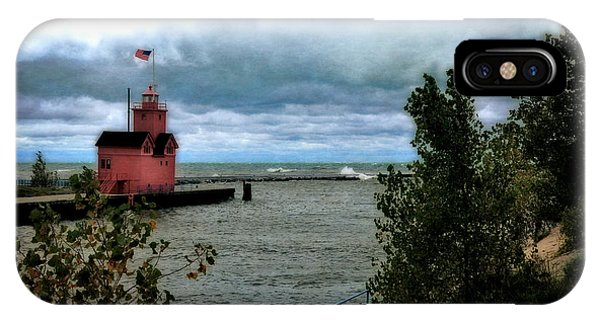 Holland Harbor Light With Big Winds IPhone Case