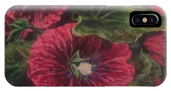 Red Hollyhocks IPhone Case