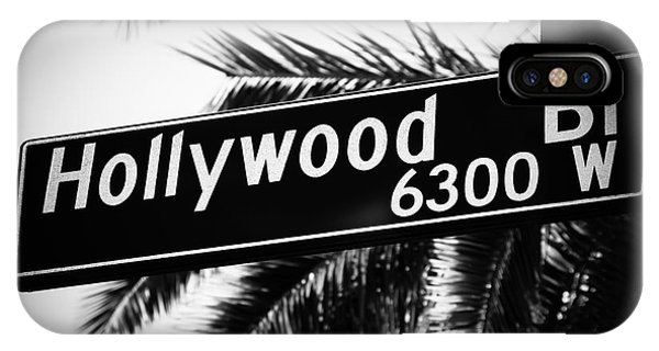 Movie iPhone Case - Hollywood Boulevard Street Sign In Black And White by Paul Velgos