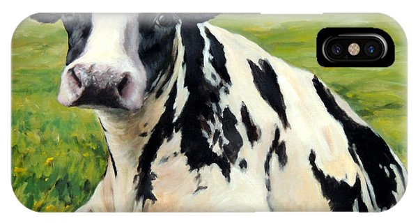 Cow iPhone X / XS Case - Holstein Cow Relaxing In Field by Dottie Dracos