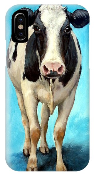 Cow iPhone X / XS Case - Holstein Cow Standing On Turquoise by Dottie Dracos