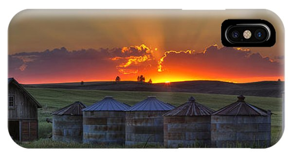 Silos iPhone Case - Home Town Sunset Panorama by Mark Kiver