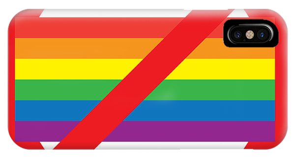 Gay Pride Flag iPhone Case - Homosexual Forbidden Sign by Aleksey Tugolukov