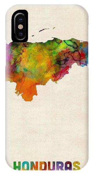 Print iPhone Case - Honduras Watercolor Map by Michael Tompsett