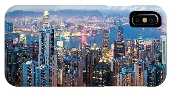 Skyline iPhone Case - Hong Kong At Dusk by Dave Bowman