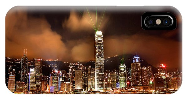 Hong Kong Harbor At Night Lightshow Phone Case by William Perry